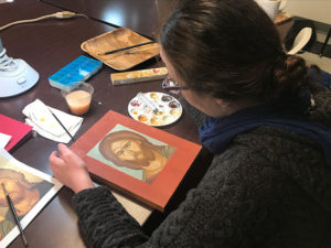 Student in Iconography Class